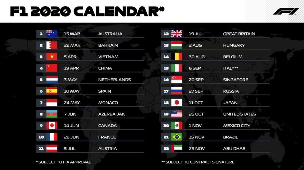 【写真】2020年F1日程(カレンダー)(2019/08/29時点)